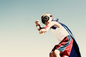 super hero boy with mask, blue cape