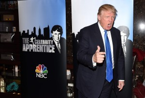 Angry low character Donald Trump in blue tie celebrity apprentice