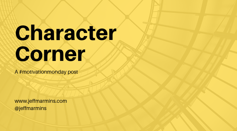Character Corner text on yellow background